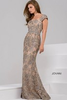 Jovani Cap Sleeve Embellished Floral Applique Evening Dress 48121