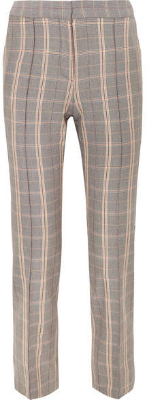 Maje Checked Woven Slim-leg Pants