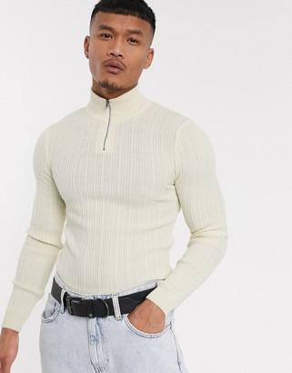 Asos Design DESIGN muscle fit irregular ribbed jumper with half zip in ecru-Cream
