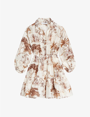 Sandro Jolane abstract-print linen-blend mini shirt dress