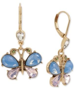 Betsey Johnson Gold-Tone Crystal Butterfly Drop Earrings
