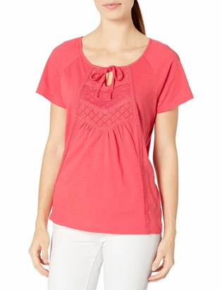 Fresh Women's S/Keyhole Top with Lace Trim