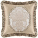 "Dian Austin Couture Home Pure Pewter Pieced Pillow with Brush Fringe, 20""Sq."