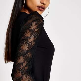 River Island Womens Petite Black long sheer puff sleeve T-shirt