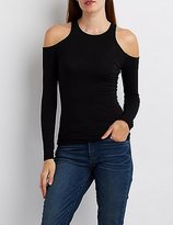 Charlotte Russe Cold Shoulder Fitted Tee