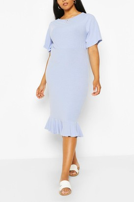 boohoo Plus Soft Rib Ruffle Hem Midi Dress