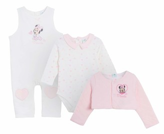 Disney Minnie Mouse Baby Girls 3 Piece Gift Set Dungarees + Bodyvest + Cardigan Pink 12 Months