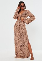 Missguided Petite Brown Zebra Print Maxi Skirt