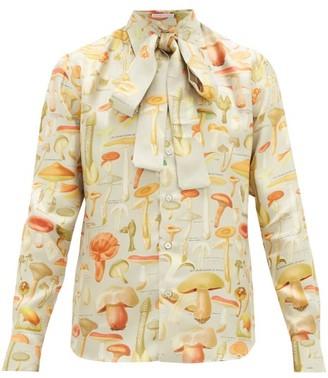 Alister Mackie - Pussy-bow Mushroom-print Silk-satin Shirt - Silver Multi