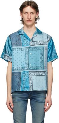 Amiri Blue Silk Bandana Reconstructed Shirt