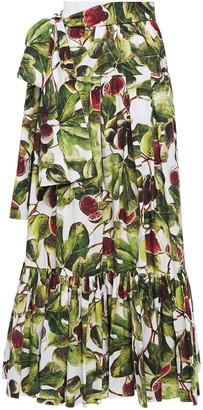 Dolce & Gabbana Pleated Printed Cotton-poplin Maxi Skirt