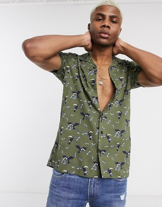 Jack and Jones Originals revere collar toucan print short sleeve shirt in khaki