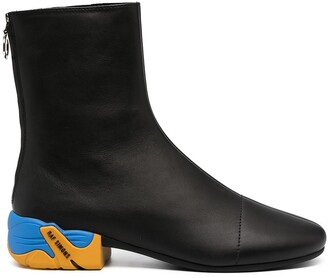 Raf Simons Contrast-Heel Ankle Boots
