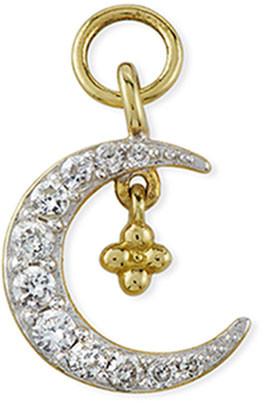 Jude Frances 18K Petite Pave Diamond Crescent Earring Charm, Single, Right