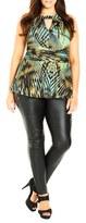 City Chic Plus Size Women's 'Super Palm' Print Sleeveless Peplum Top