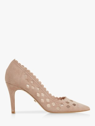 Dune Aloraa Suede Cut Out High Heel Court Shoes, Blush