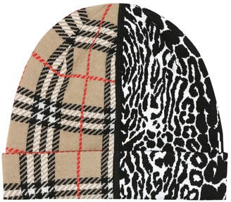 BURBERRY KIDS Vintage Check merino wool beanie