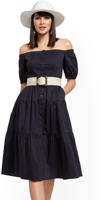 New York & Co. Tiered Poplin Off-The-Shoulder Midi Dress