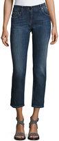Brunello Cucinelli Low-Rise Cropped Slim-Fit Jeans, Medium Blue