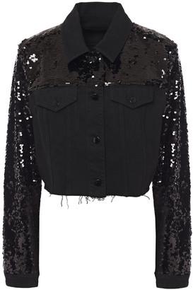 J Brand Cyra Cropped Sequined Denim Jacket