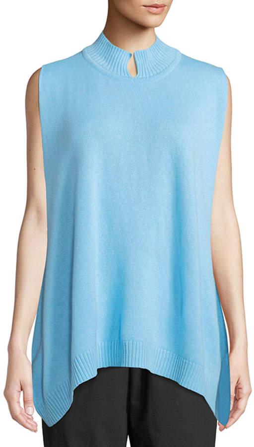 eskandar Sleeveless Slit High-Neck Cashmere Sweater