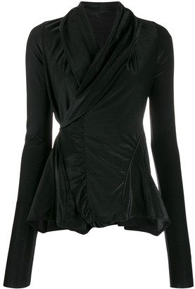 Rick Owens Lilies Metallic-Thread Wrap Blouse