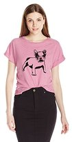Buffalo David Bitton Women's Flocky-Doggy Striped Shirt with Flocked Bulldog Graphic