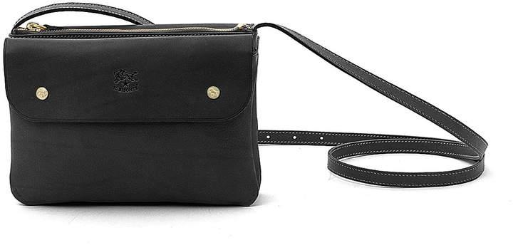 06fa794338ea Cowhide Leather Flap Crossbody Bag, Black