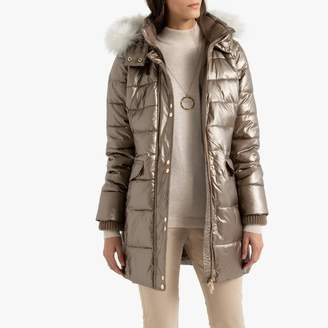 Anne Weyburn Metallic Quilted Hooded Padded Puffer Jacket with Faux Fur Hood and Pockets