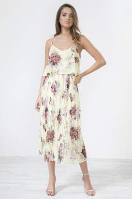 Urban Touch Yellow Floral Print Pleated Cami Midi Dress