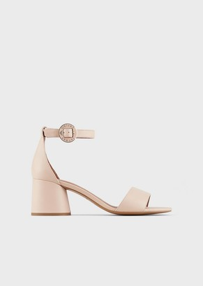 Emporio Armani Leather Sandals With Round Heels