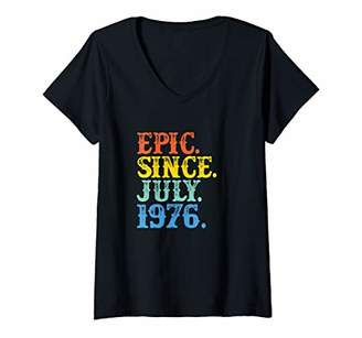 Womens Vintage Epic Since July 1976 Birth Year Born Legendary Gifts V-Neck T-Shirt