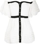 Philosophy di Lorenzo Serafini Ruffled Lace Panel Off-Shoulder Dress