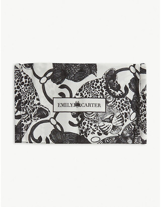 Emily Carter Leopard and butterfly-print silk face covering