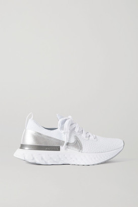 Nike React Infinity Run Metallic Flyknit Sneakers - White