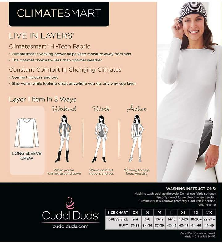 Cuddl Duds Climatesmart Long Sleeve Crew T-Shirt