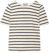 Sea Striped Cotton And Broderie Anglaise T-shirt - Cream