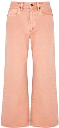 SLVRLAKE Grace Crop Pink Wide-leg Jeans