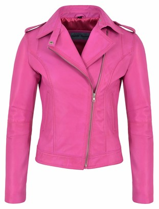 Smart Range Leather Co Ltd Ladies Brando Leather Jacket Fuchsia Pink Fashion Biker Rock Style Real Lambskin 442 (18)