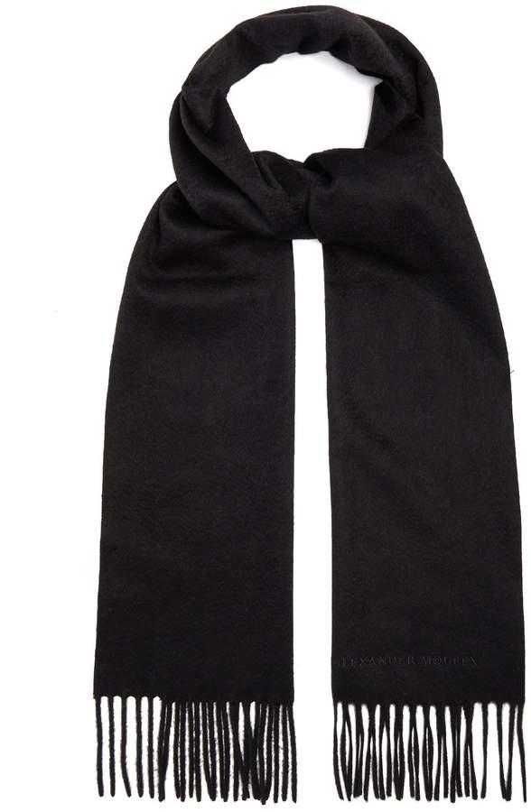 Alexander McQueen Logo-embroidered cashmere scarf
