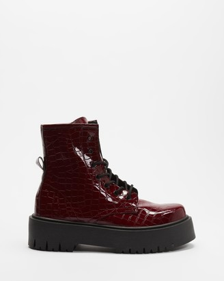 Topshop Women's Red Lace-up Boots - Billy Croc Lace Up Boots - Size 38 at The Iconic