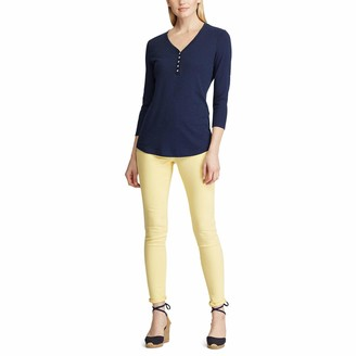 Chaps Women's 3/4 Sleeve Crewneck Henley Shirt