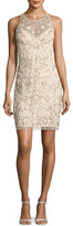 Aidan Mattox Sleeveless Beaded Floral Sheath Dress, Champagne