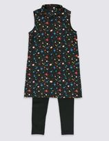 Marks and Spencer 2 Piece Star Print Tunic & Leggings Outfit (5-14 Years)