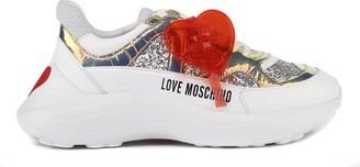 Love Moschino Heart Embellished Glitter Fabric Sneakers