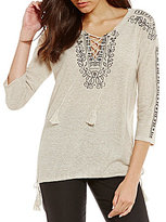 Sigrid Olsen Signature Lace Up Embroidered Sweater