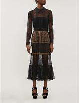 Self-Portrait black lace midi dress