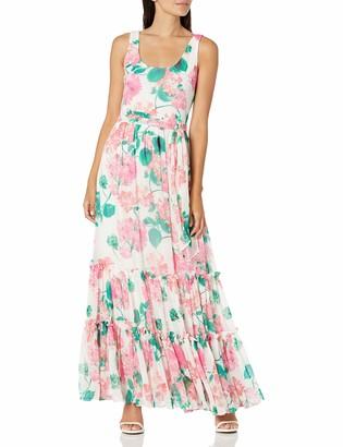 Calvin Klein Women's Sleeveless Scoop Neck A-Line Maxi Dress with Tiered Skirt