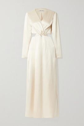 ANNA QUAN Elena Twist-front Cutout Satin Maxi Dress - Cream