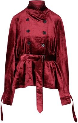 Ann Demeulemeester Calico Velvet Belted Blazer